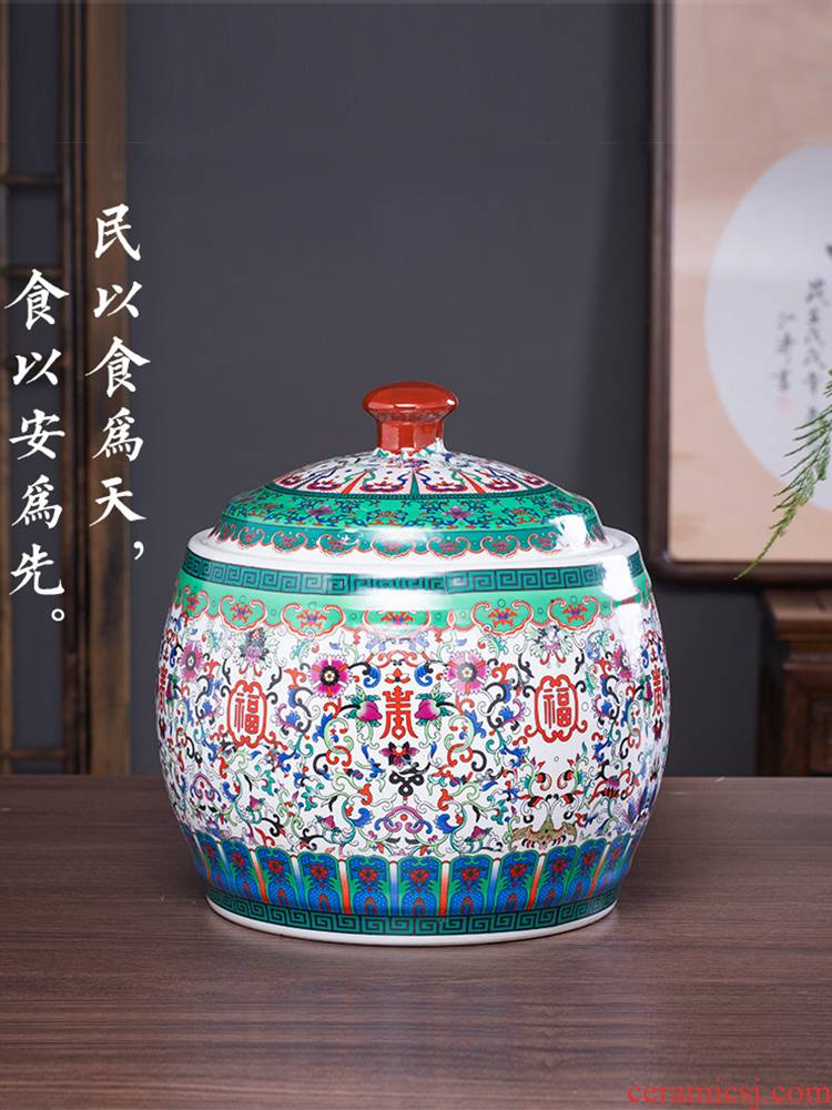 Jingdezhen ceramics 20 jins household barrel ricer box meter box storage tank moistureproof insect - resistant with cover pickles colored enamel