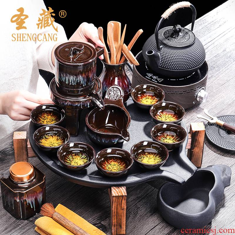 Up with ceramic tea set household contracted stone mill automatic kung fu tea tray teapot tea tea cups