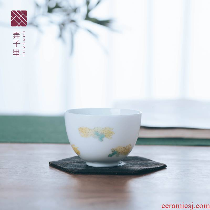 Figure in the glass tea cup jingdezhen hand - made citron egg cup master cup sample tea cup ceramic drinking cup