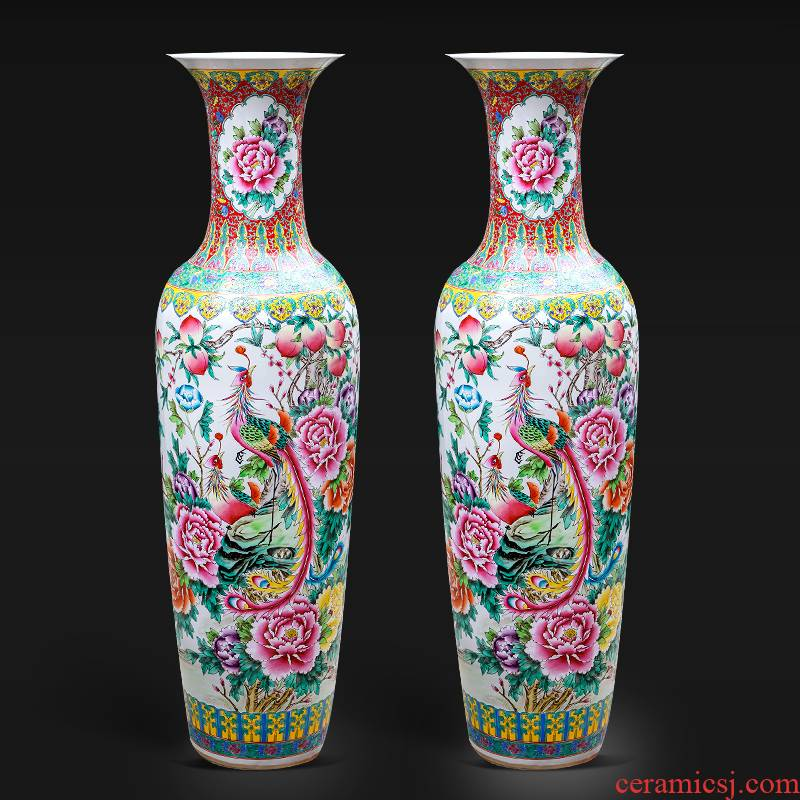 Jingdezhen ceramics hand - made pastel of large vase hotel furnishing articles sitting room of Chinese style household decorations study
