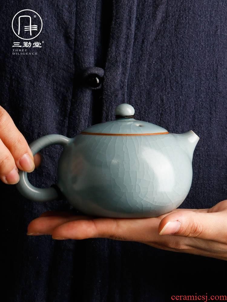 Three frequently hall your up xi shi pot kept the teapot household large single pot of jingdezhen ceramic tea teapot
