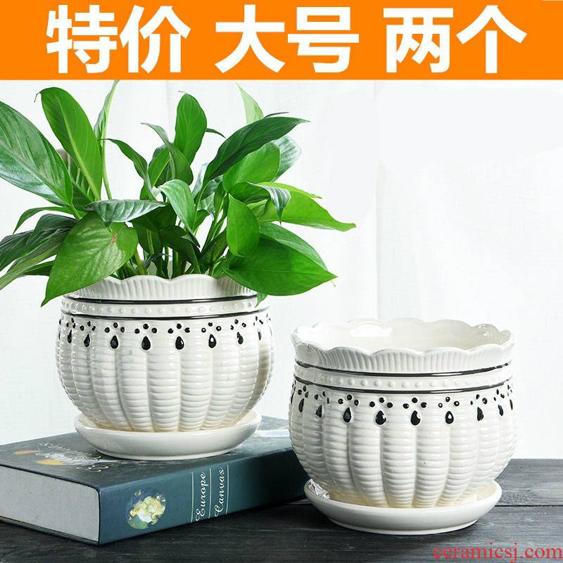 Flowerpot ceramic special offer a clearance with pallet size extra large individuality creative money plant contracted more than meat wholesale flower pot