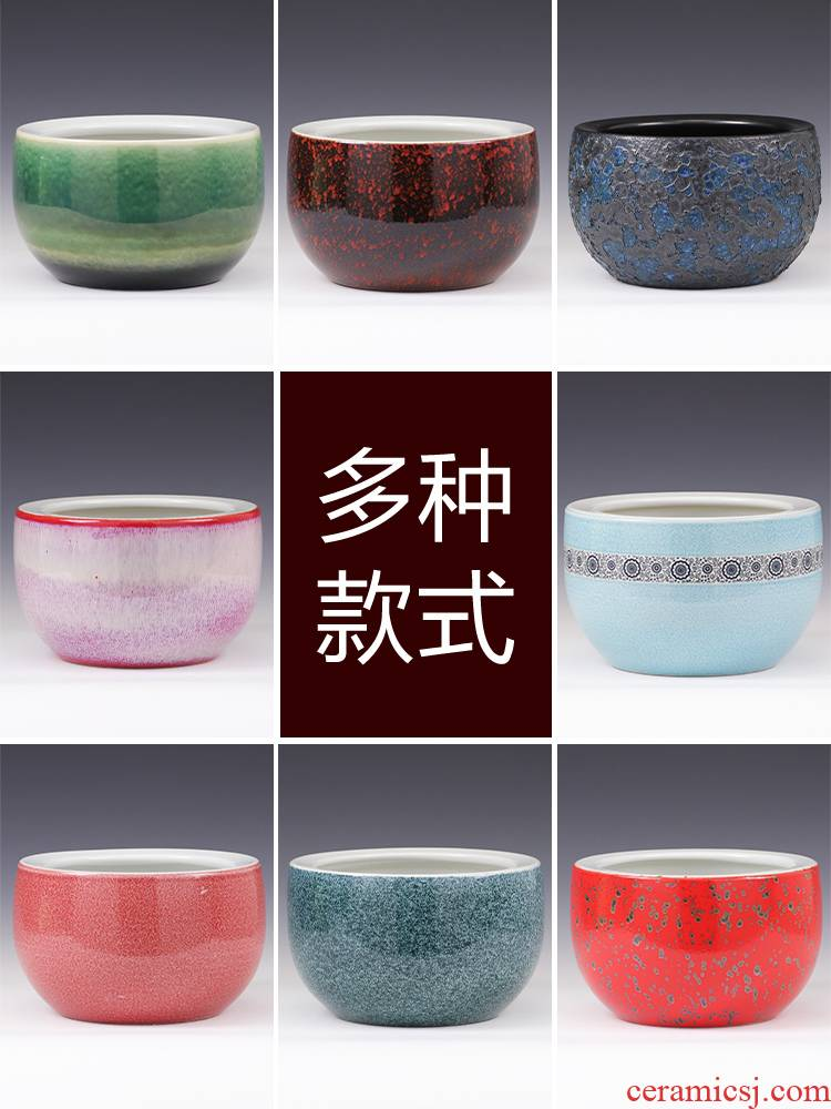 Jingdezhen ceramics creative furnishing articles variable color glaze tank round basin of water lilies round cylinder Chinese style household act the role ofing is tasted