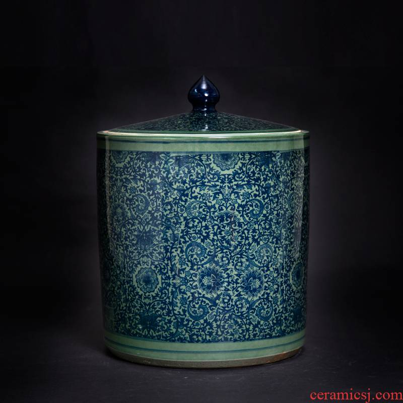 Jingdezhen ceramic flower tea pot straight home receive sealed storage tea caddy fixings