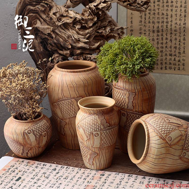 Manual its pottery rural meaty plant potted flower pot vase coarse pottery dried flowers flower arrangement furnishing articles ornaments