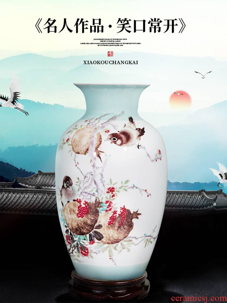 Jingdezhen ceramics powder enamel vase flower arranging place to live in the living room TV cabinet rich ancient frame handicraft ornament