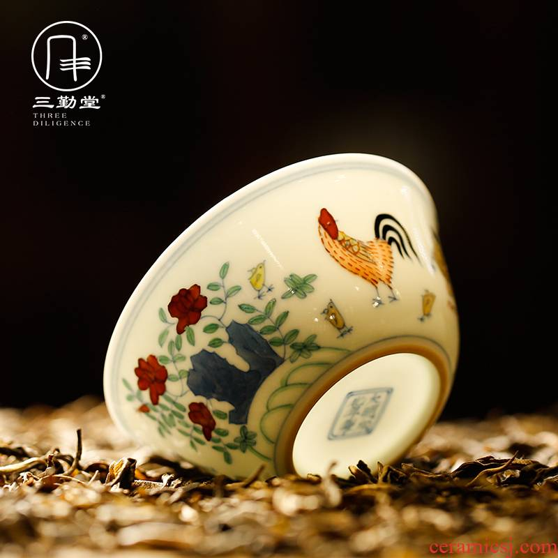 Three frequently hall jingdezhen ceramic sample tea cup tea cups kung fu tea cups to restore ancient ways in color bucket cylinder cup chicken