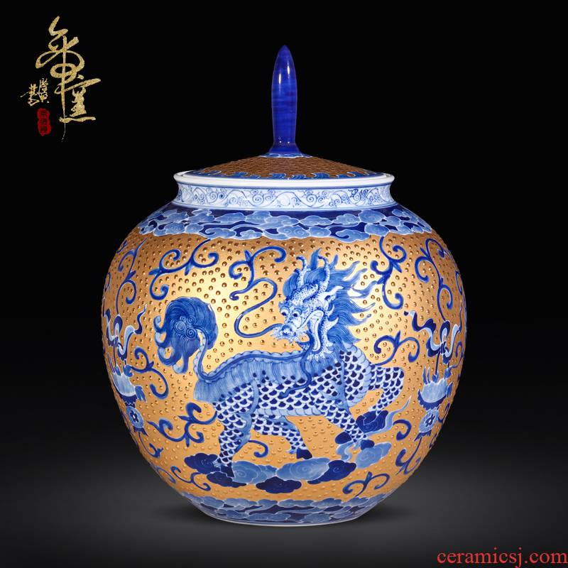 Jingdezhen ceramic checking gold key-2 luxury implement collection xiangyun kirin tea storage canister to modern Chinese style furnishing articles