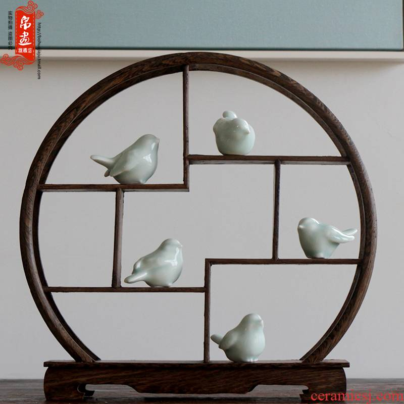 Jingdezhen ceramic manual shadow green ceramic, lovely mini ladybird furnishing articles study the desktop small ornament