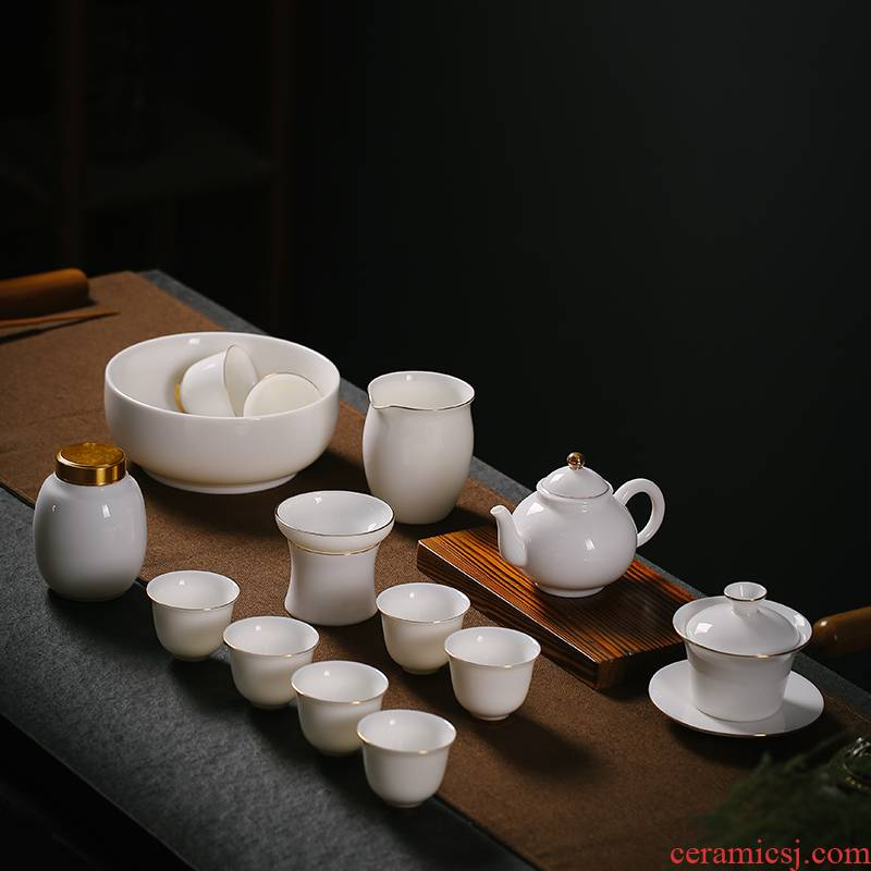 Porcelain heng tong tea set suit household contracted suet jade teapot teacup of a complete set of dehua white Porcelain paint by hand kung fu