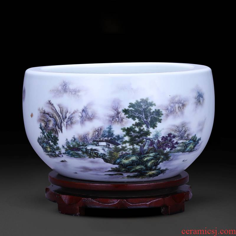 Jingdezhen ceramics tank cylinder tortoise feng shui plutus cornucopia home sitting room adornment handicraft furnishing articles
