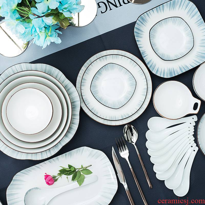 Glair creative northern dishes suit household tableware suit ceramic bowl chopsticks to eat dish to use combination of move