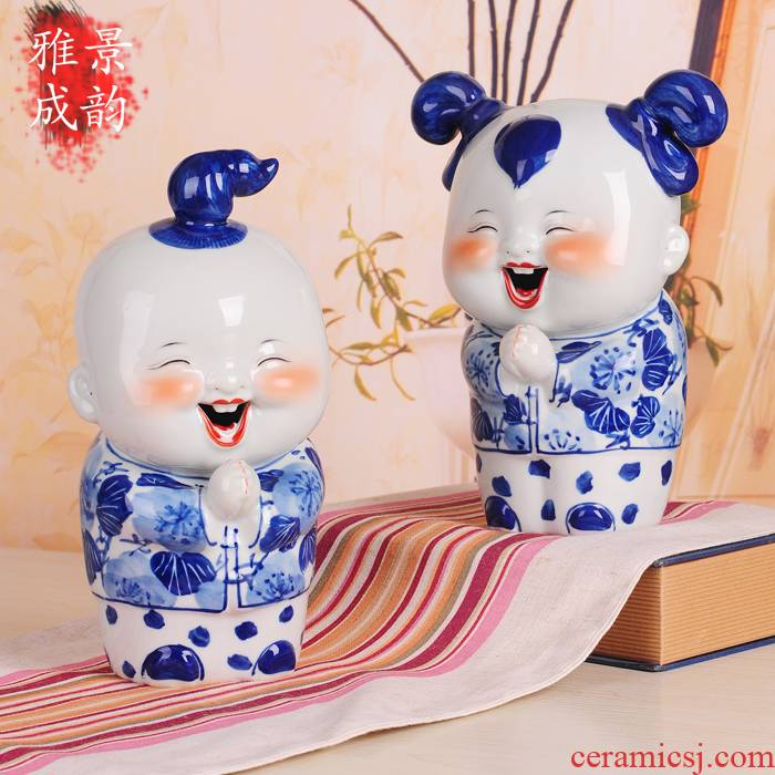 Jingdezhen ceramics blue - and - white porcelain its congratulation doll handicraft furnishing articles household act the role ofing is tasted