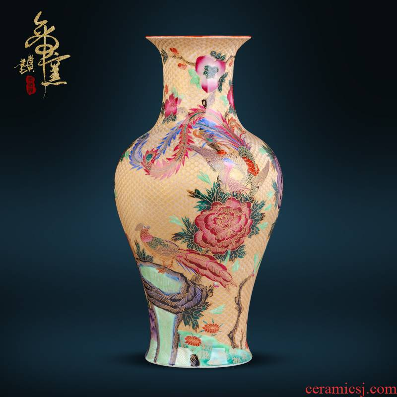 Jingdezhen ceramics antique hand - made thread colored enamel vase Chinese style living room porch TV ark, flower arranging furnishing articles