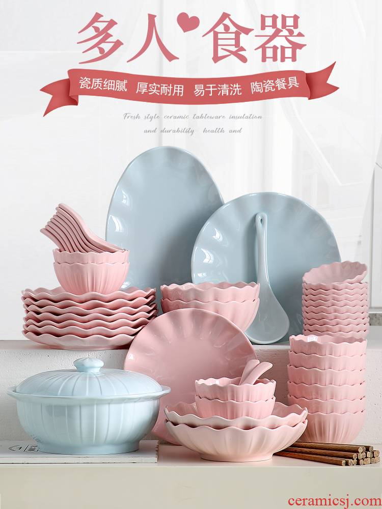 The dishes suit household Nordic web celebrity ins creative move ceramic tableware to eat bowl chopsticks Japanese composite plate