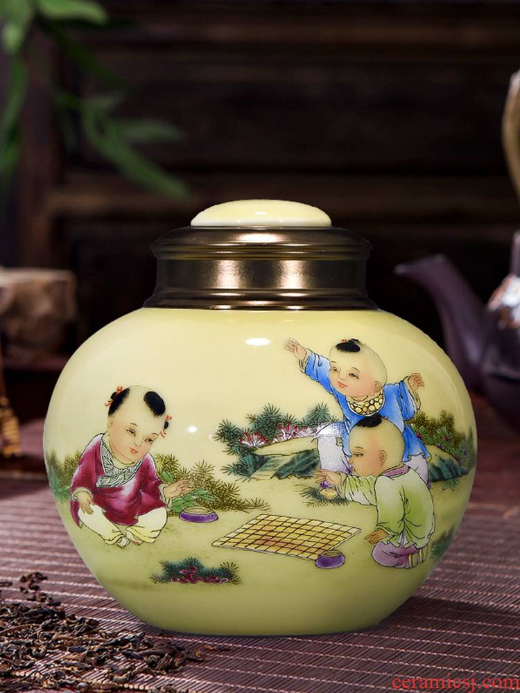 Let 's have fun on yellow background figure with cover caddy fixings alloy cover jingdezhen ceramic POTS, moisture - proof seal storage tank tea