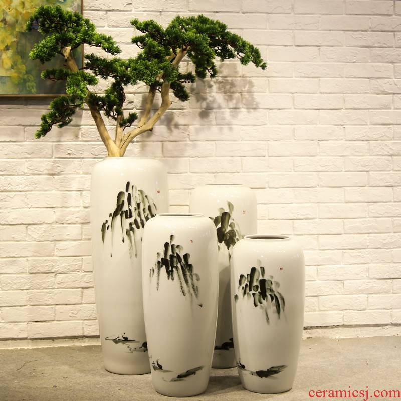 Jingdezhen new Chinese style landing simulation flowers sitting room ceramic vase planting place mall clothing store decoration floral outraged
