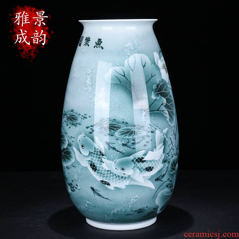 Jingdezhen ceramic Chinese vase fish happy place to live in the sitting room porch flower arranging porcelain gifts