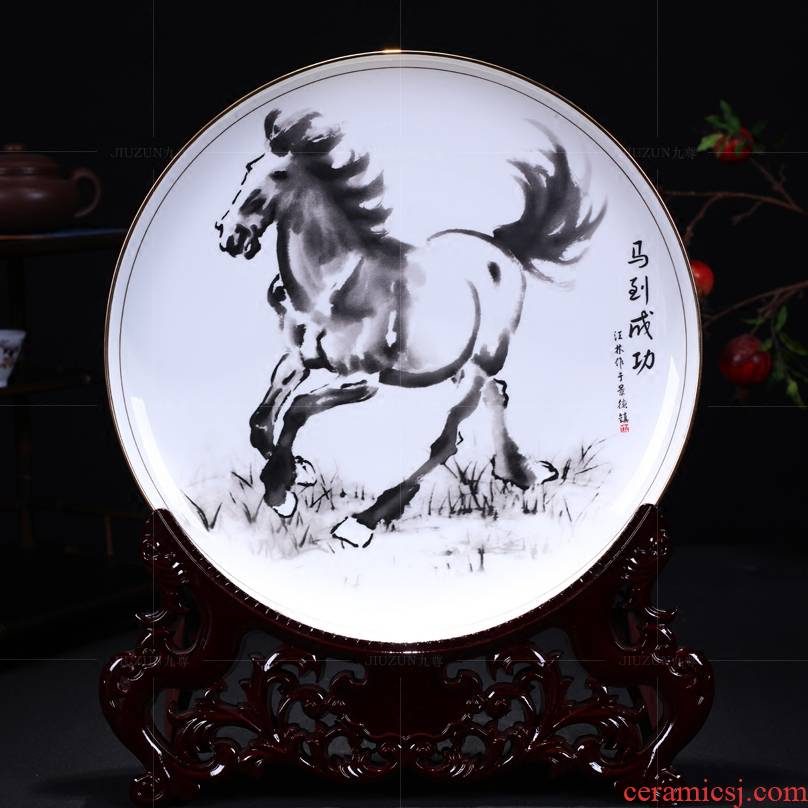 Jingdezhen ceramics see success by modern Chinese style living room decoration hanging dish dish dish handicraft