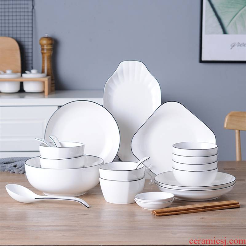 4 dishes suit household contracted tableware 6 people creative Japanese ipads bowls with composite ceramic bowl dishes for dinner