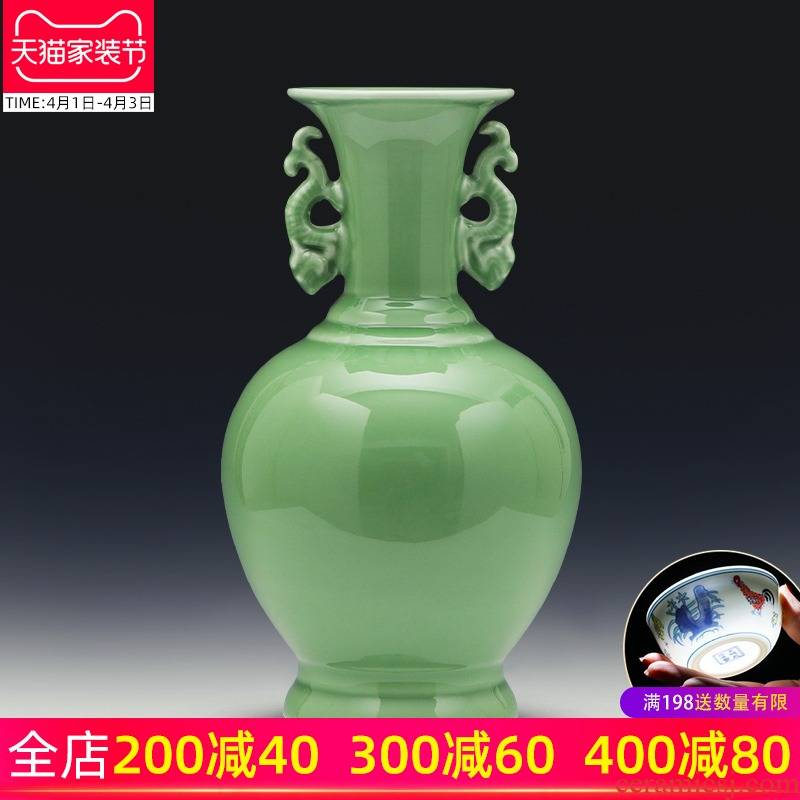 Jingdezhen ceramics vase son hand shadow blue glaze porcelain flower arrangement of Chinese style furnishing articles contracted household act the role ofing is tasted, the living room