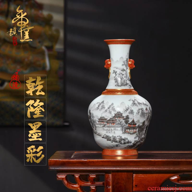 Emperor up imitation antique hand - made alum red see colour ink landscape characters and Chinese style living room with a pair of vases, furnishing articles