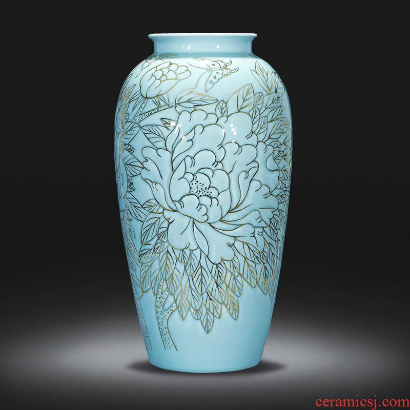 Jingdezhen chinaware paint painting and calligraphy cylinder hand - made retro shadow blue bottle home study sitting room adornment furnishing articles