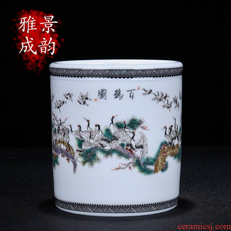 Jingdezhen ceramic new Chinese hand - made best figure pen container crane, porcelain decoration decoration place to live in the living room desk