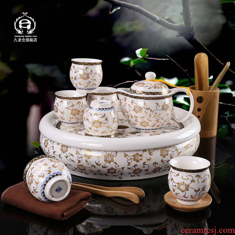Double DH jingdezhen kung fu tea set contracted insulation household ceramic tea tray of a complete set of small cup teapot