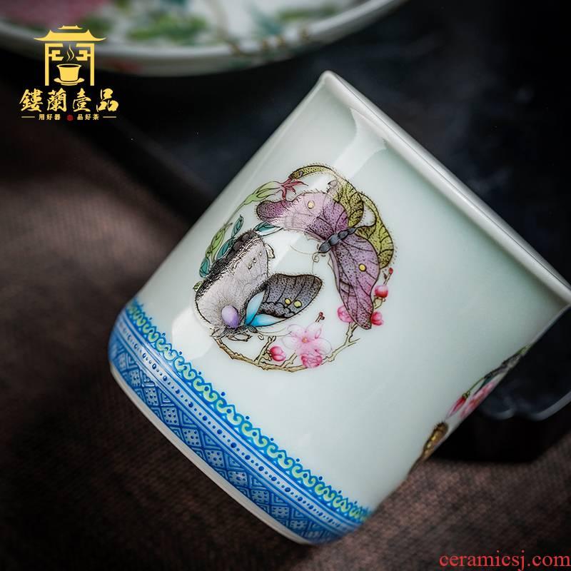 Jingdezhen all hand hand draw pastel group control host single CPU kung fu ceramic tea set sample tea cup large tea cup