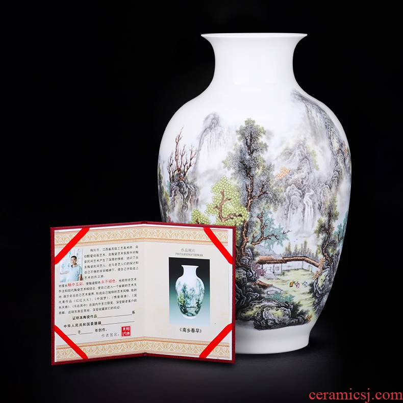 Jingdezhen ceramics pastel landscape vase furnishing articles of modern home sitting room flower arranging wine TV ark, adornment