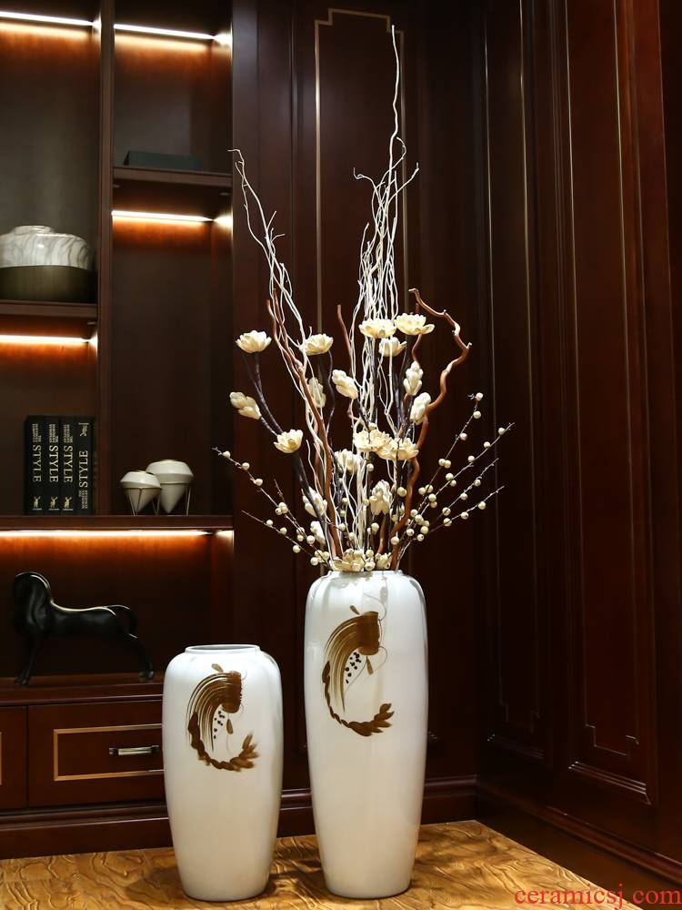 Jingdezhen ceramic vase landing place home porch dried flower adornment sitting room of I and contracted style flower arrangement
