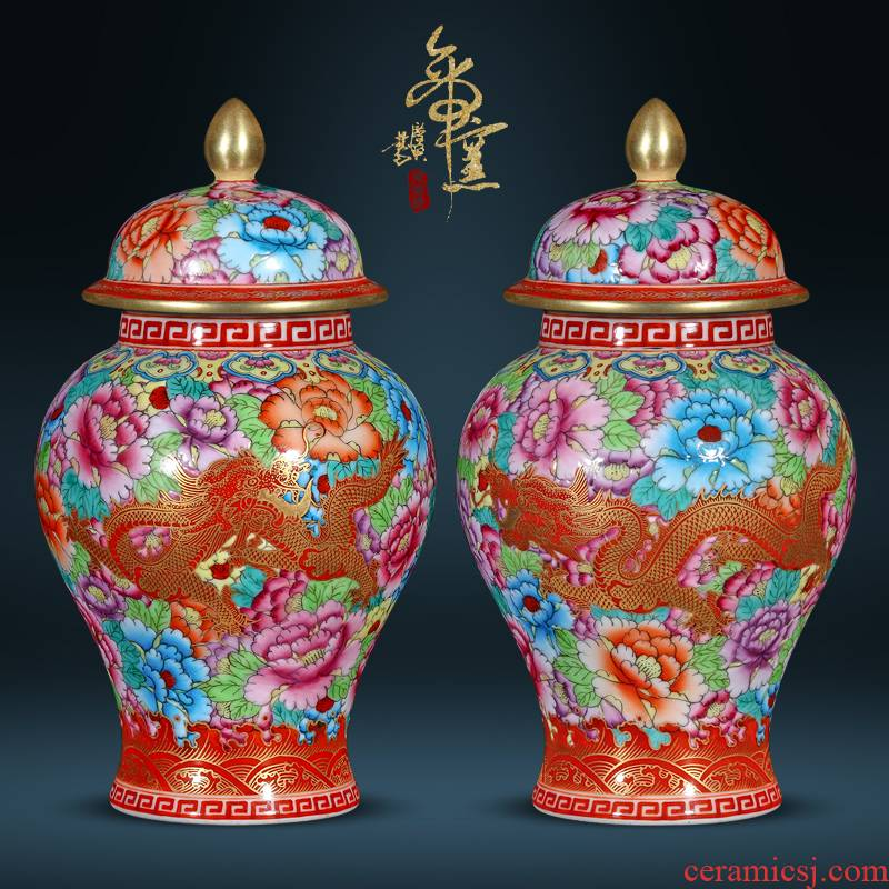 Jingdezhen ceramics imitation the qing qianlong dragon general wear purple flower as cans Chinese style living room TV cabinet porch is decorated furnishing articles