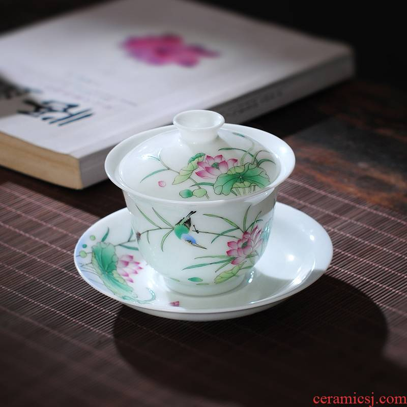 The Owl up jingdezhen tea tureen checking ceramic mud hand - made jade lotus color master kung fu tea bowl cups