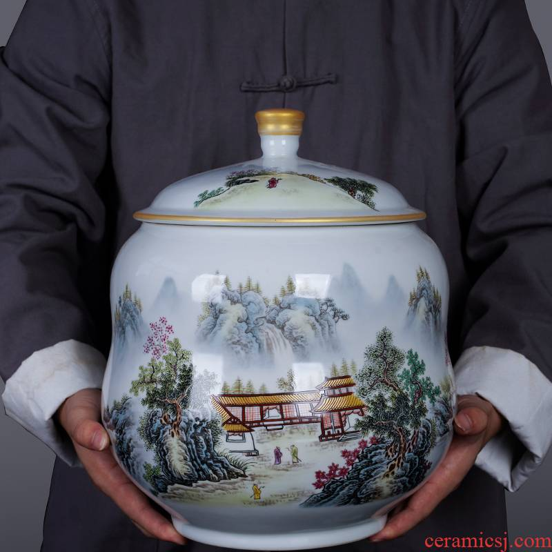 Jingdezhen ceramic new Chinese style pastel landscape caddy fixings furnishing articles home sitting room decorates the storage tank is large