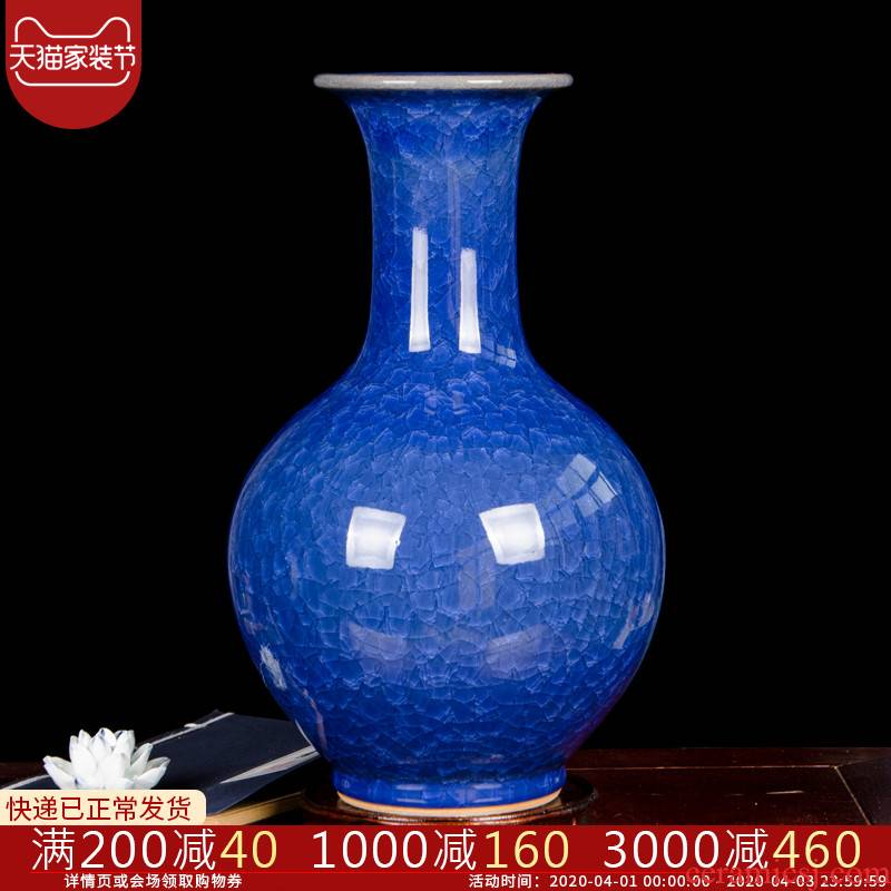 Archaize cb93 jingdezhen ceramics borneol crackle vase household handicraft furnishing articles blue flower arranging the living room
