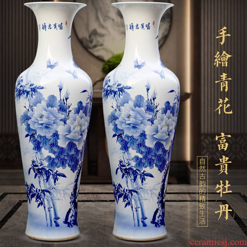 Hand - made riches and honour auspicious peony of large blue and white porcelain vase of jingdezhen ceramics sitting room adornment big furnishing articles