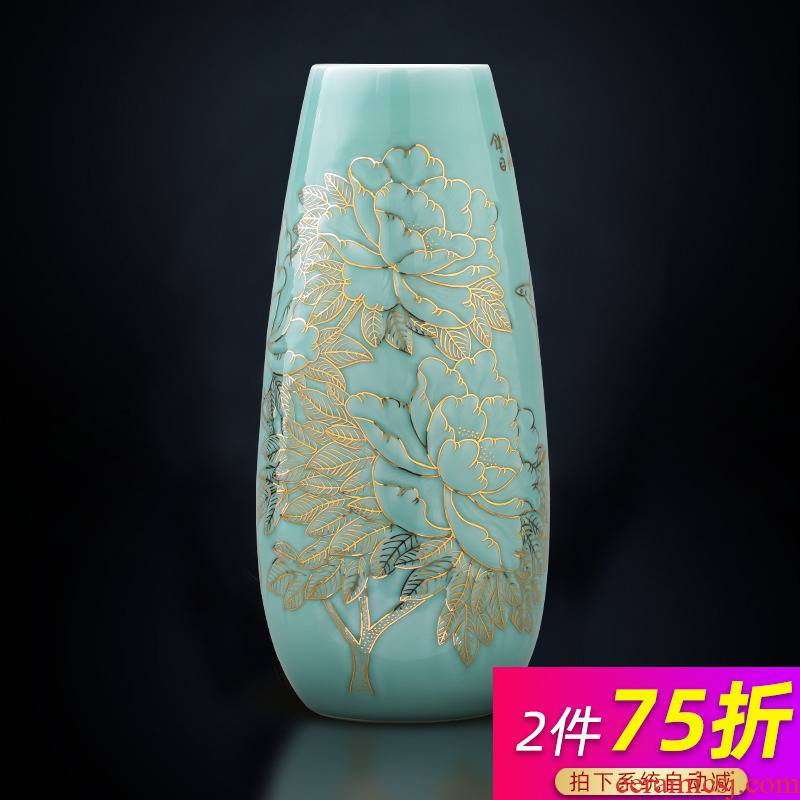 Master of jingdezhen ceramics hand - made the see colour blue glaze vase blooming flowers f tube TV ark adornment furnishing articles