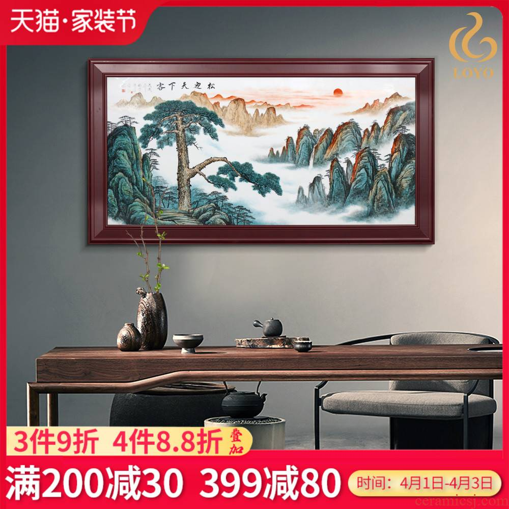 Jingdezhen porcelain plate painting masters new see colour loose to meet the world Chinese style living room sofa setting wall decoration painting murals