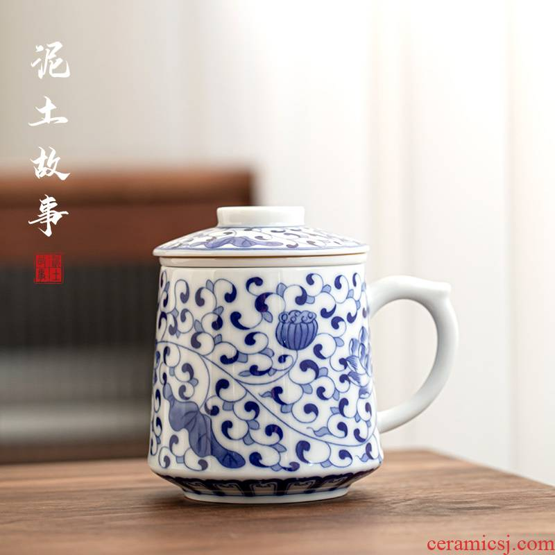 Jingdezhen blue and white porcelain cup with cover glass ceramic mugs domestic large capacity office personal cup
