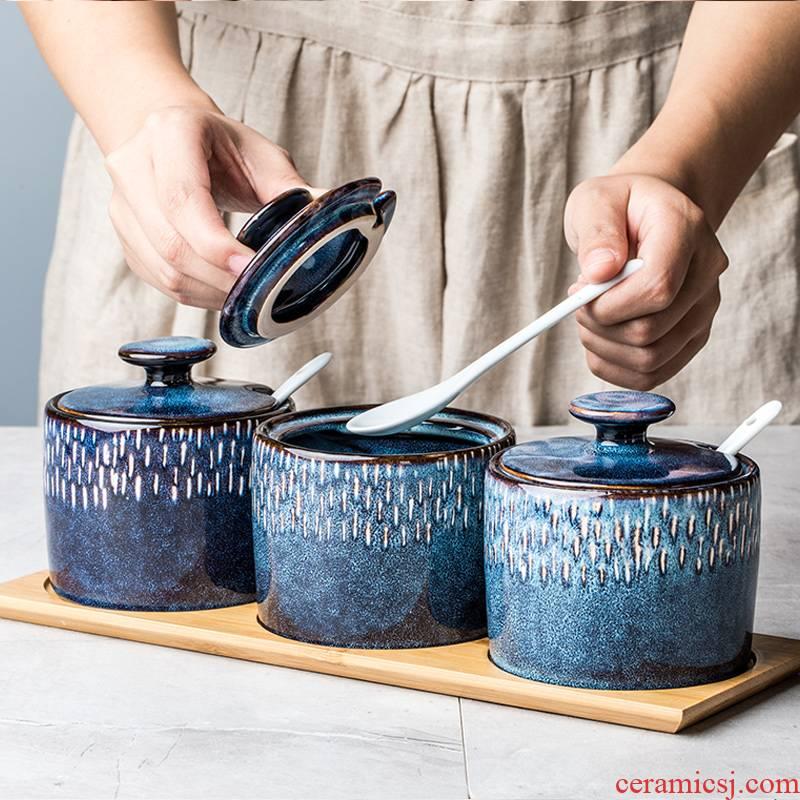 Ceramic household seasoning as cans creative Nordic kitchen, cooking seasoning sauce vinegar jar sugar pot monosodium glutamate in combined packages