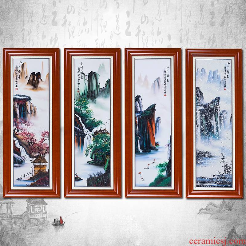Jingdezhen ceramic hand - made landscape painting porcelain plate painting four screen Chinese style of sitting room background wall adornment porch hang a picture