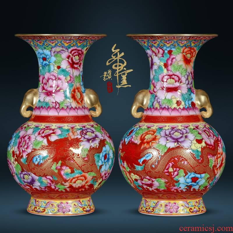 Jingdezhen ceramic vases, wear a flower is like a dragon ear black mushroom sitting room porch Chinese flower arranging TV ark adornment furnishing articles