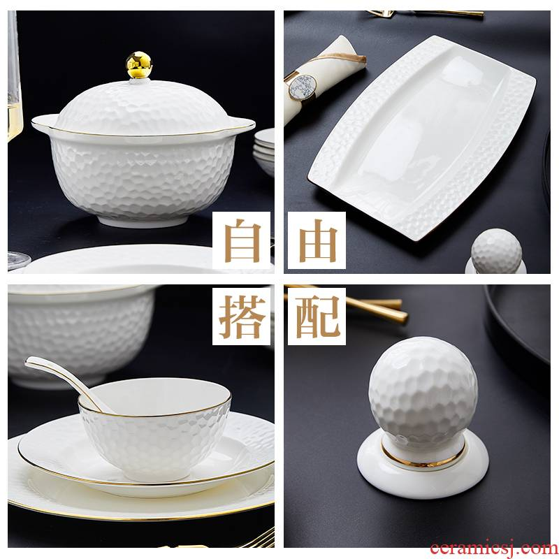 Dishes suit household European - style jingdezhen ceramic tableware simple Dishes fashion up phnom penh golf fuels the DIY