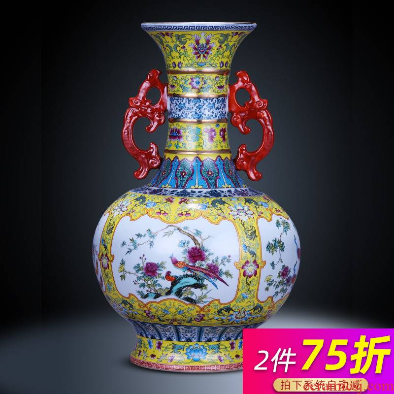 Jingdezhen ceramics vase archaize ears flower arrangement of Chinese style restoring ancient ways is sitting room home TV ark adornment furnishing articles