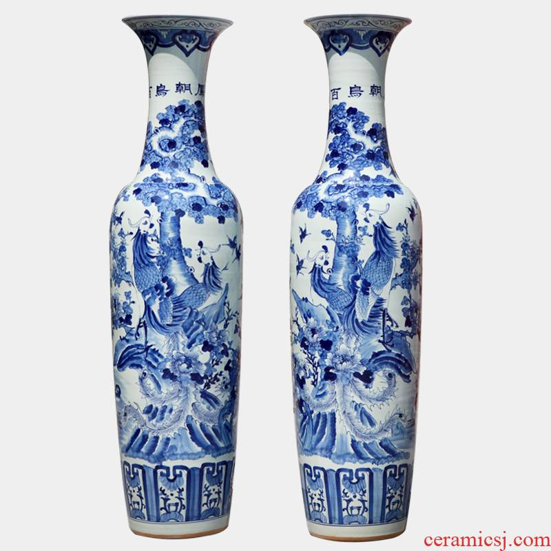 229 jingdezhen blue and white hand - made ceramic birds pay homage to the king of large vase household hotel adornment furnishing articles