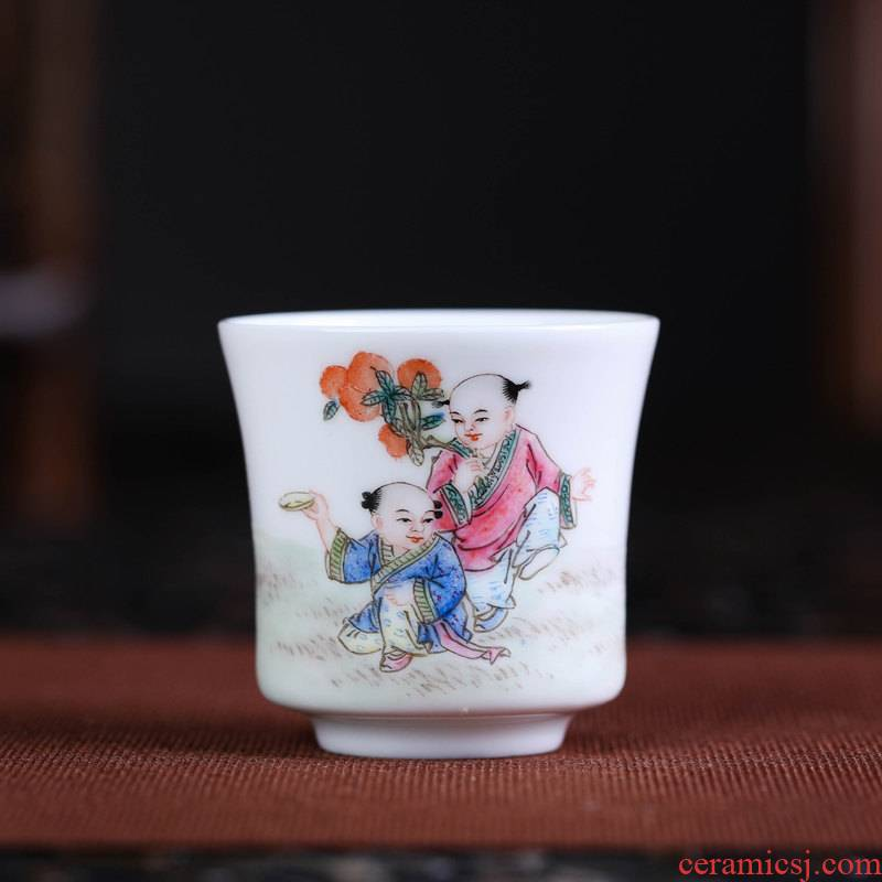 Offered home - cooked in jingdezhen porcelain pure manual handless small bowl famille rose porcelain sample tea cup masters cup kung fu a cup of tea cups