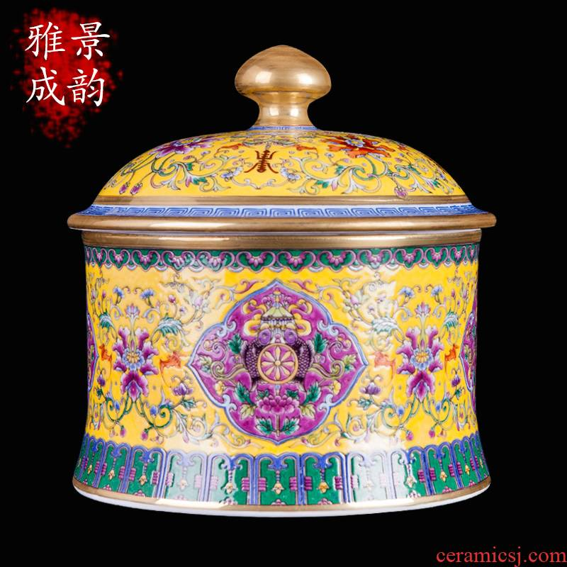 Jingdezhen ceramic cake tea to wake, the seventh, peulthai the POTS of household deposit tea POTS porcelain jar storage place