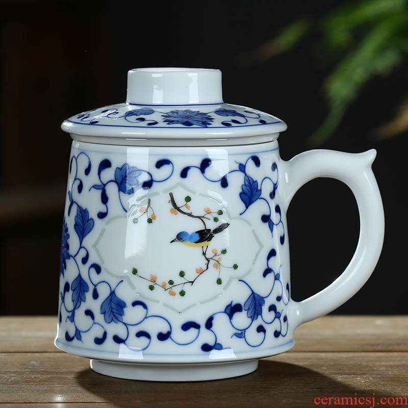 Jingdezhen and exquisite ceramic cups with cover filter tea cup of large - capacity water cup boss cup gift porcelain cups