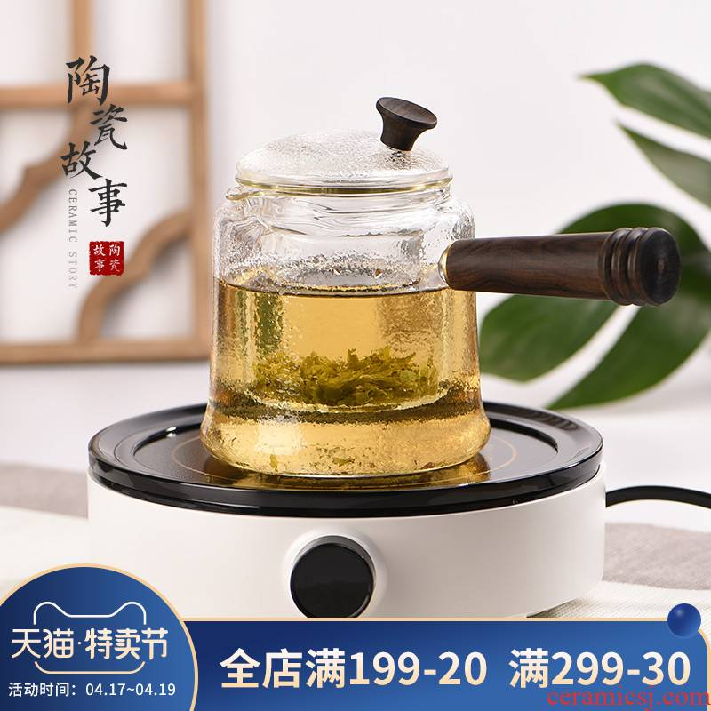 Electric TaoLu boiled tea, steaming pot set with thick glass high - temperature kettle girder pot of kung fu tea tea stove